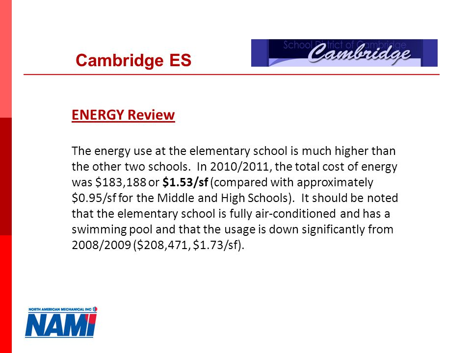 12 ENERGY Review The energy use at the elementary school is much higher than the other two schools.