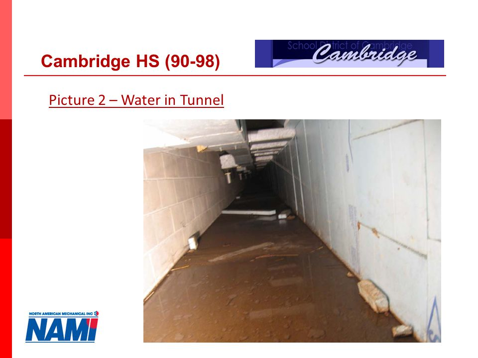 19 Picture 2 – Water in Tunnel Cambridge HS (90-98)