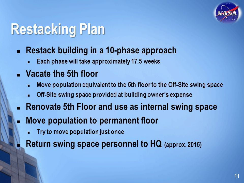 Restacking Plan Restack building in a 10-phase approach Each phase will take approximately 17.5 weeks Vacate the 5th floor Move population equivalent to the 5th floor to the Off-Site swing space Off-Site swing space provided at building owners expense Renovate 5th Floor and use as internal swing space Move population to permanent floor Try to move population just once Return swing space personnel to HQ (approx.