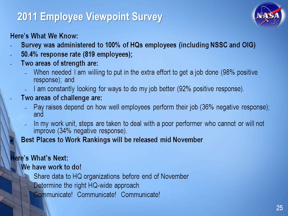 2011 Employee Viewpoint Survey Heres What We Know: Survey was administered to 100% of HQs employees (including NSSC and OIG) 50.4% response rate (819 employees); Two areas of strength are: – When needed I am willing to put in the extra effort to get a job done (98% positive response); and – I am constantly looking for ways to do my job better (92% positive response).