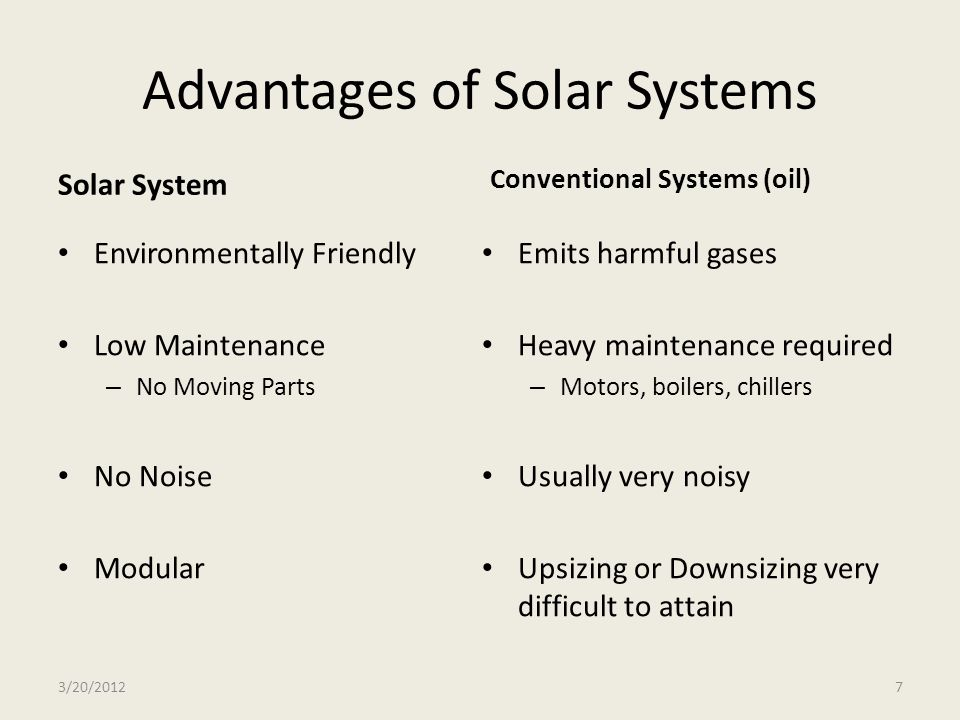 Advantages of Solar Systems Solar System Environmentally Friendly Low Maintenance – No Moving Parts No Noise Modular Conventional Systems (oil) Emits