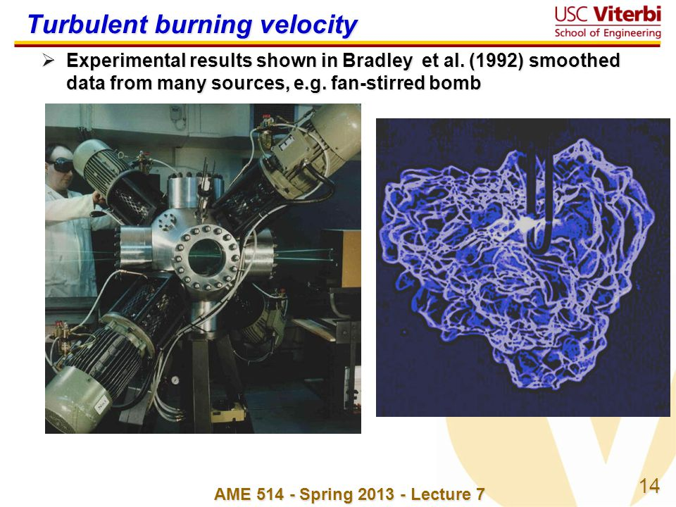 14 AME 514 - Spring 2013 - Lecture 7 Turbulent burning velocity Experimental results shown in Bradley et al. (1992) smoothed data from many sources, e