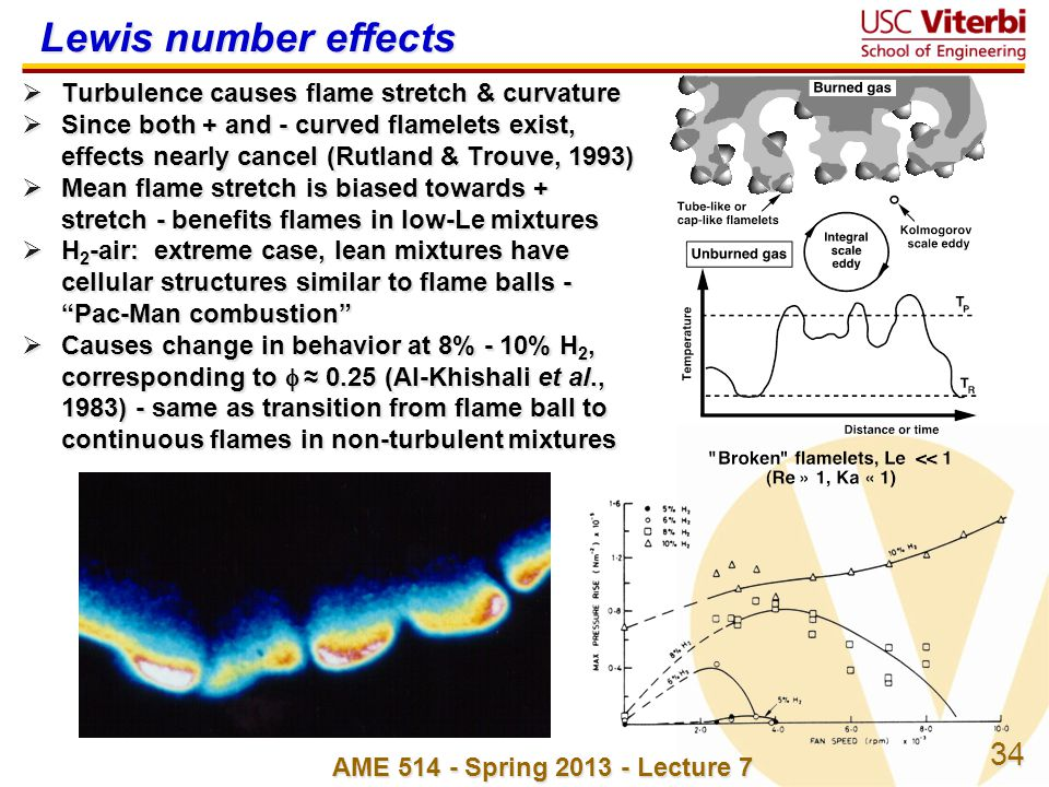 34 AME 514 - Spring 2013 - Lecture 7 Lewis number effects Turbulence causes flame stretch & curvature Turbulence causes flame stretch & curvature Sinc