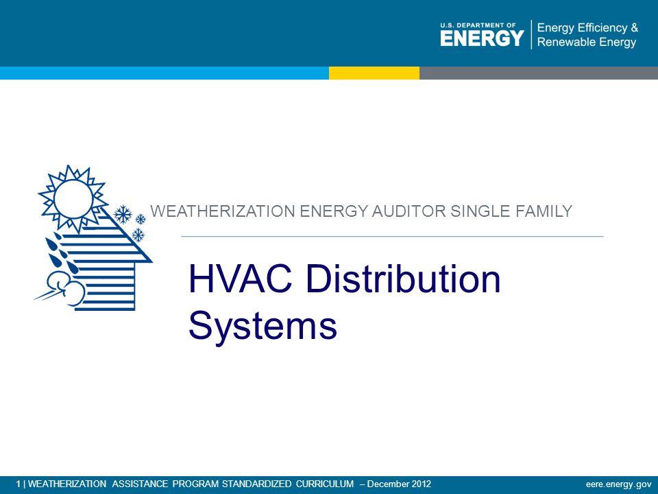 1 | WEATHERIZATION ASSISTANCE PROGRAM STANDARDIZED CURRICULUM – December 2012eere.energy.gov HVAC Distribution Systems WEATHERIZATION ENERGY AUDITOR S