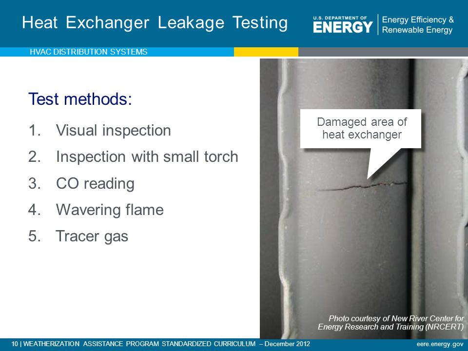 10 | WEATHERIZATION ASSISTANCE PROGRAM STANDARDIZED CURRICULUM – December 2012eere.energy.gov Heat Exchanger Leakage Testing Test methods: 1. Visual i