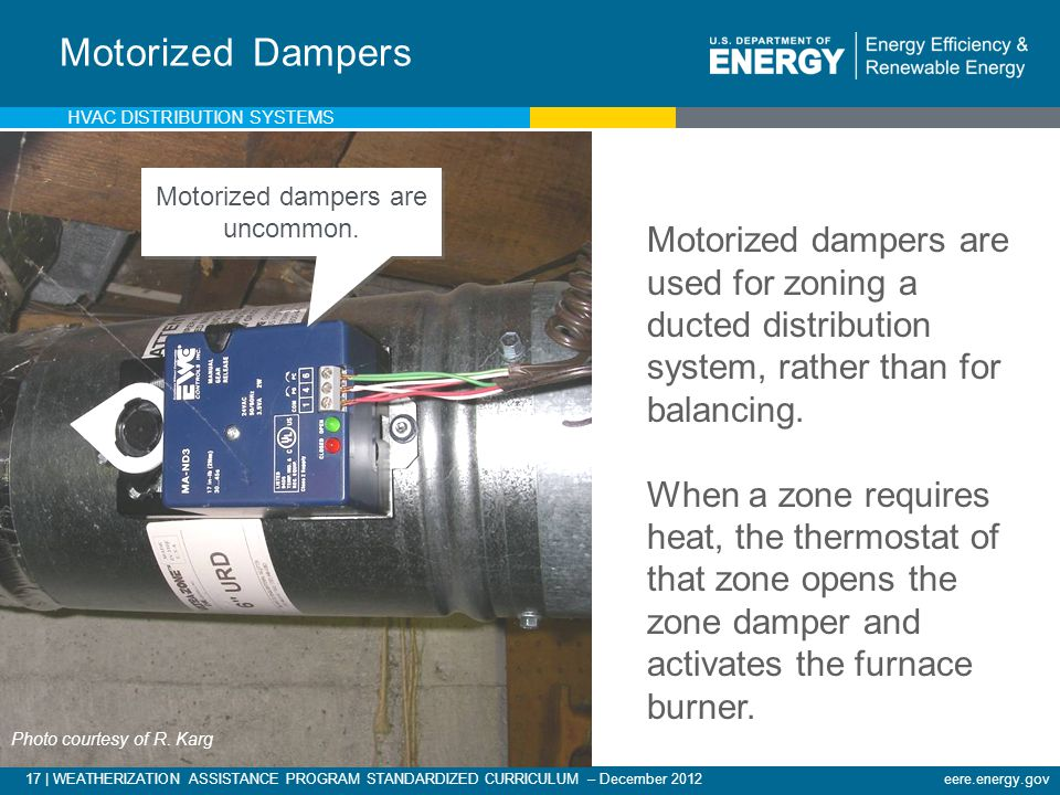 17 | WEATHERIZATION ASSISTANCE PROGRAM STANDARDIZED CURRICULUM – December 2012eere.energy.gov Motorized Dampers Motorized dampers are used for zoning