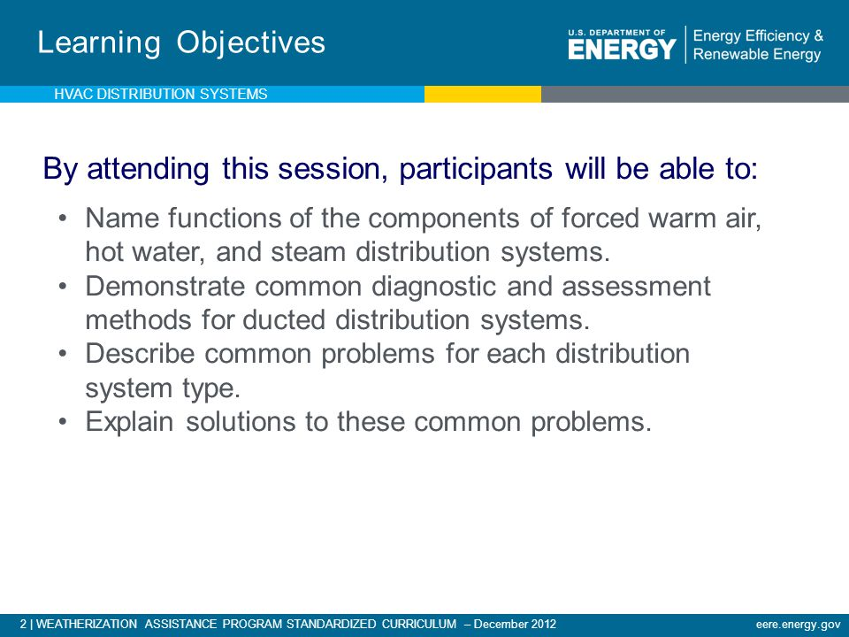 2 | WEATHERIZATION ASSISTANCE PROGRAM STANDARDIZED CURRICULUM – December 2012eere.energy.gov Learning Objectives By attending this session, participan