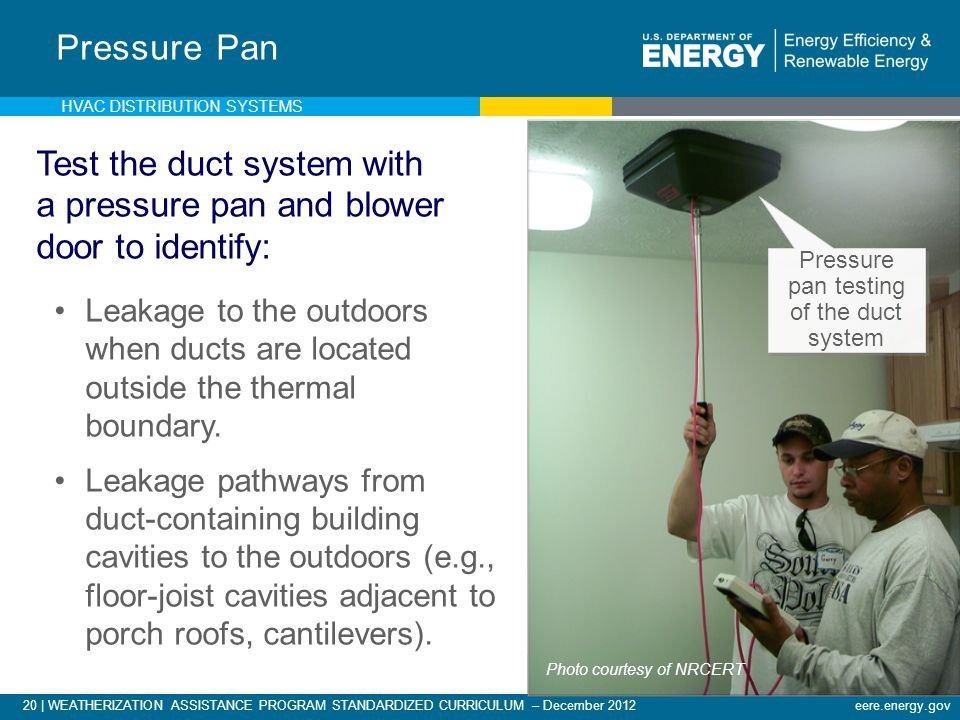 20 | WEATHERIZATION ASSISTANCE PROGRAM STANDARDIZED CURRICULUM – December 2012eere.energy.gov Pressure Pan Test the duct system with a pressure pan an