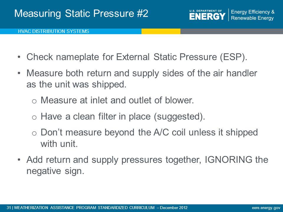 31 | WEATHERIZATION ASSISTANCE PROGRAM STANDARDIZED CURRICULUM – December 2012eere.energy.gov Measuring External Static Pressure Check nameplate for E
