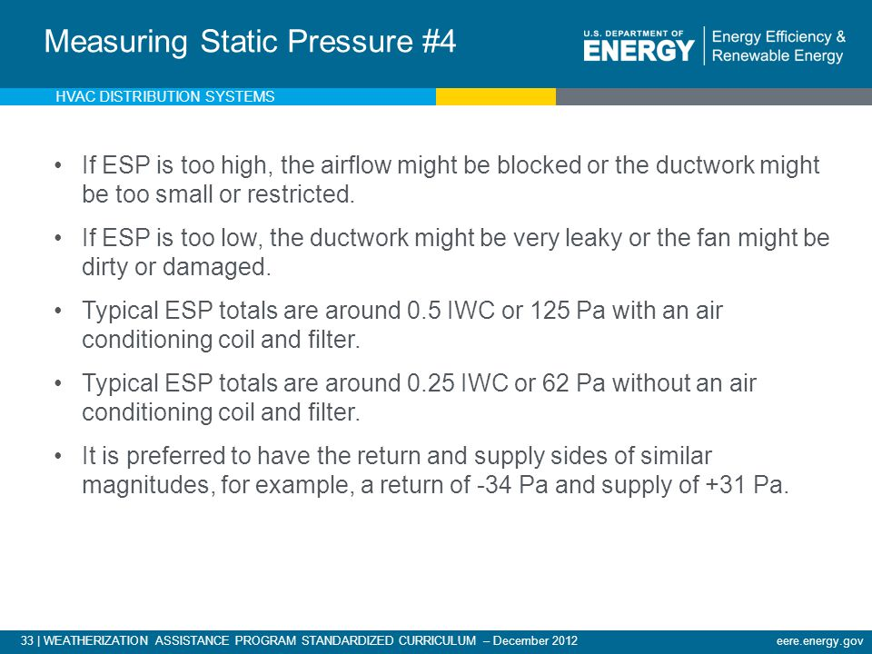 33 | WEATHERIZATION ASSISTANCE PROGRAM STANDARDIZED CURRICULUM – December 2012eere.energy.gov Measuring External Static Pressure If ESP is too high, t
