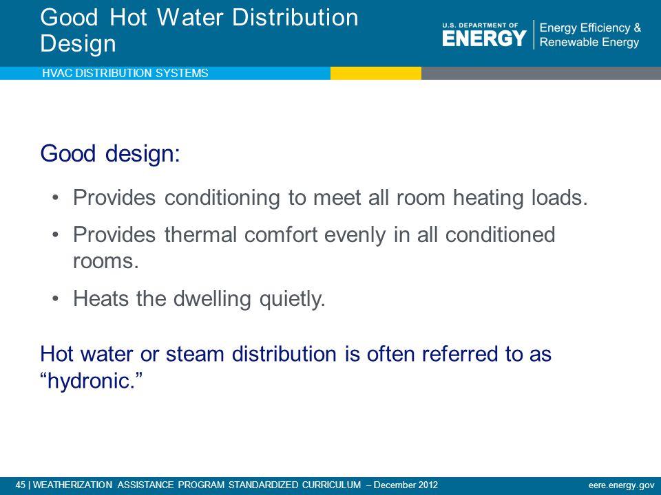 45 | WEATHERIZATION ASSISTANCE PROGRAM STANDARDIZED CURRICULUM – December 2012eere.energy.gov Good Hot Water Distribution Design Good design: Provides