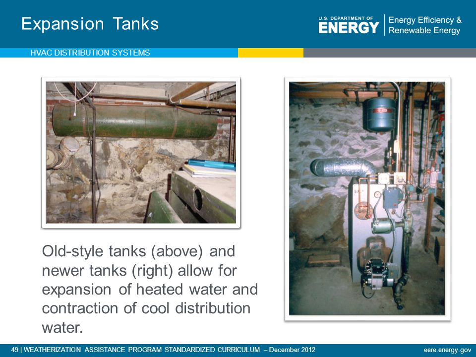 49 | WEATHERIZATION ASSISTANCE PROGRAM STANDARDIZED CURRICULUM – December 2012eere.energy.gov Expansion Tanks Old-style tanks (above) and newer tanks