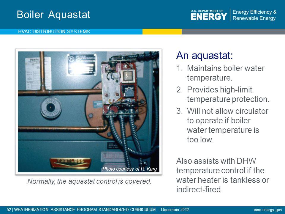 52 | WEATHERIZATION ASSISTANCE PROGRAM STANDARDIZED CURRICULUM – December 2012eere.energy.gov Boiler Aquastat An aquastat: 1.Maintains boiler water te