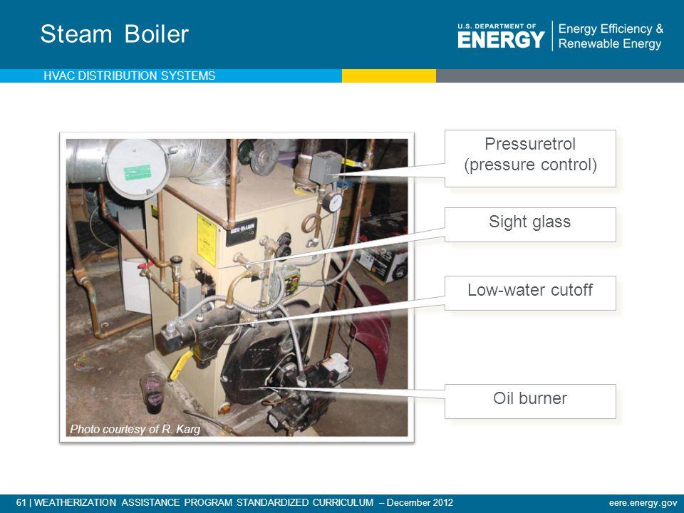 61 | WEATHERIZATION ASSISTANCE PROGRAM STANDARDIZED CURRICULUM – December 2012eere.energy.gov Steam Boiler Pressuretrol (pressure control) Pressuretro