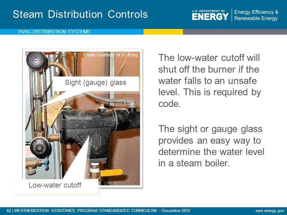 62 | WEATHERIZATION ASSISTANCE PROGRAM STANDARDIZED CURRICULUM – December 2012eere.energy.gov Steam Distribution Controls Sight (gauge) glass Low-wate