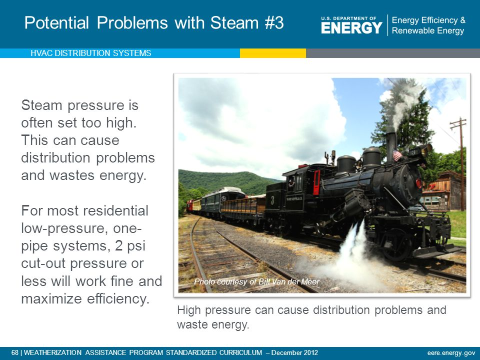 68 | WEATHERIZATION ASSISTANCE PROGRAM STANDARDIZED CURRICULUM – December 2012eere.energy.gov Potential Problems with Steam #3 Steam pressure is often