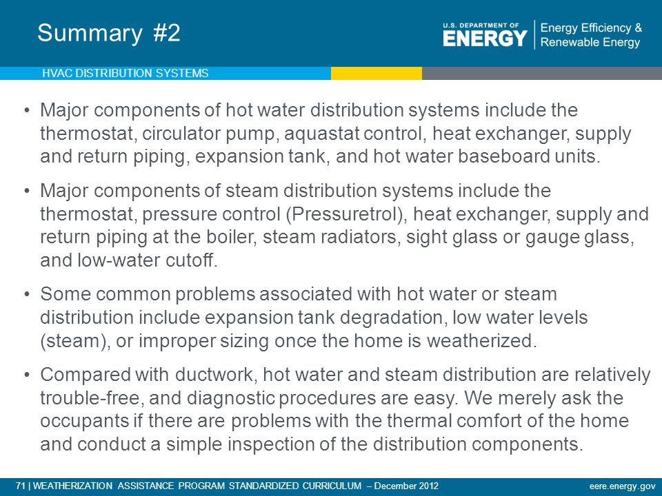 71 | WEATHERIZATION ASSISTANCE PROGRAM STANDARDIZED CURRICULUM – December 2012eere.energy.gov Summary #2 Major components of hot water distribution sy
