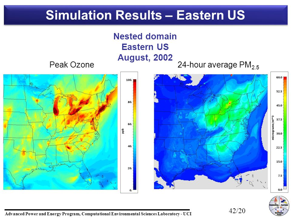 Advanced Power and Energy Program, Computational Environmental Sciences Laboratory - UCI 42/20 Simulation Results – Eastern US Nested domain Eastern US August, 2002 Peak Ozone24-hour average PM 2.5