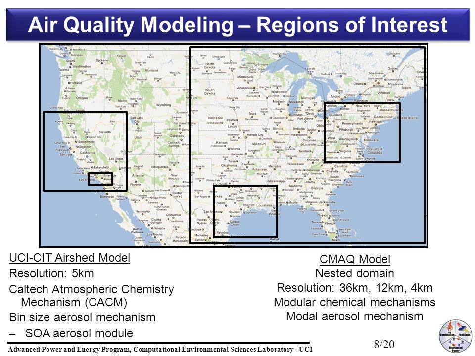 Advanced Power and Energy Program, Computational Environmental Sciences Laboratory - UCI 19/20 Summary GHG and air quality co-benefits will depend on future fuel and technology paths Changes in transportation are the dominant to obtain GHG and air quality co-benefits High penetration of renewable electricity production is essential to achieve GHG reduction targets Effects of global warming may offset the air quality benefits – –Need to consider including global warming effects on baseline case