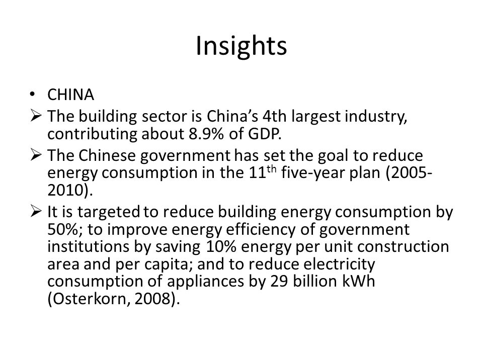 Insights CHINA The building sector is Chinas 4th largest industry, contributing about 8.9% of GDP. The Chinese government has set the goal to reduce e