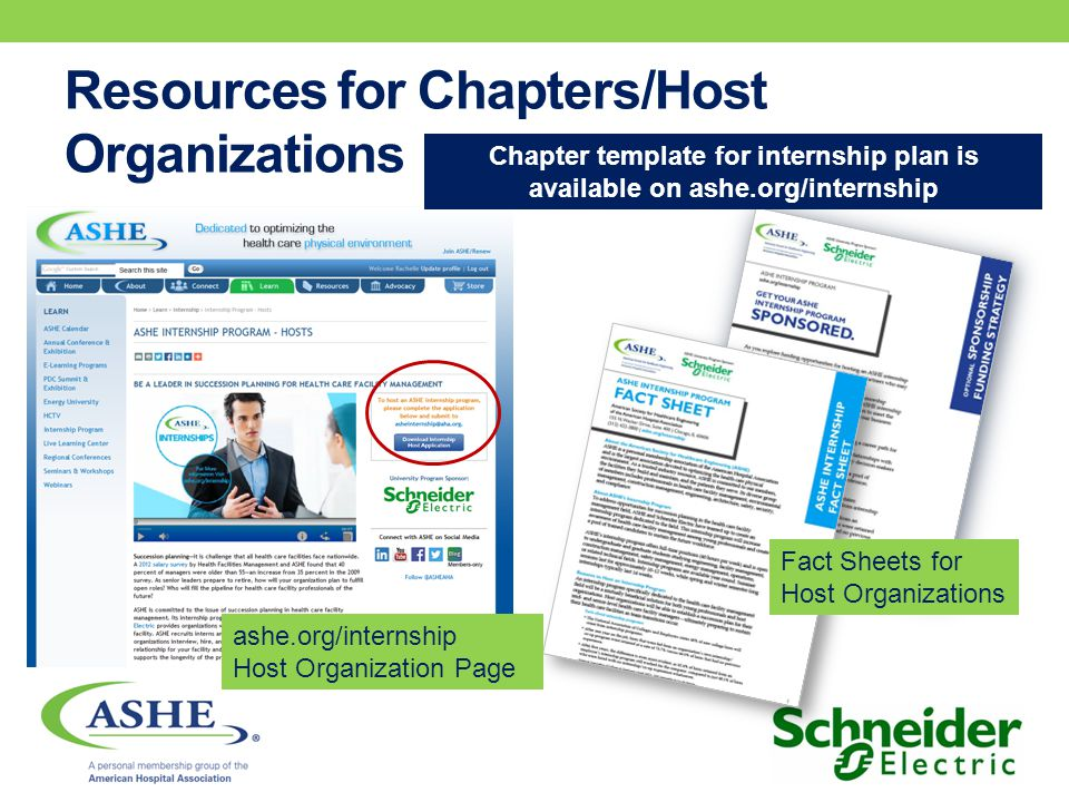 Resources for Chapters/Host Organizations ashe.org/internship Host Organization Page Fact Sheets for Host Organizations Chapter template for internship plan is available on ashe.org/internship