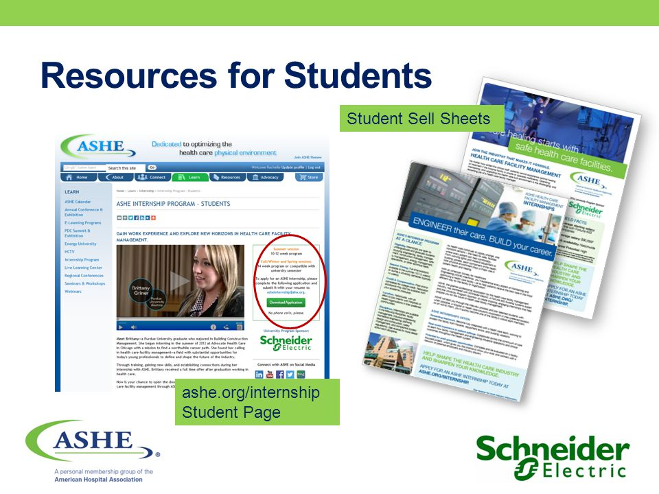 Resources for Students Student Sell Sheets ashe.org/internship Student Page