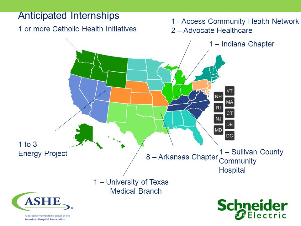 1 - Access Community Health Network 2 – Advocate Healthcare 1 or more Catholic Health Initiatives 8 – Arkansas Chapter 1 to 3 Energy Project 1 – Sullivan County Community Hospital 1 – University of Texas Medical Branch 1 – Indiana Chapter Anticipated Internships