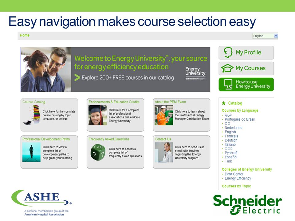 Easy navigation makes course selection easy