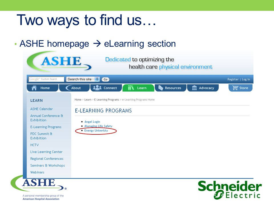 Two ways to find us… ASHE homepage eLearning section