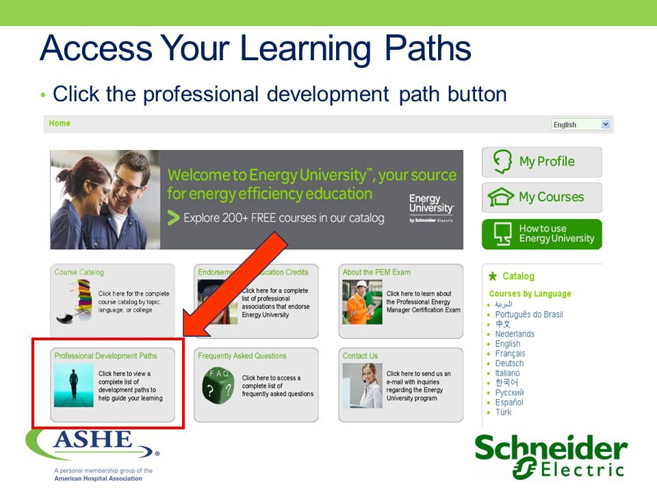 Access Your Learning Paths Click the professional development path button