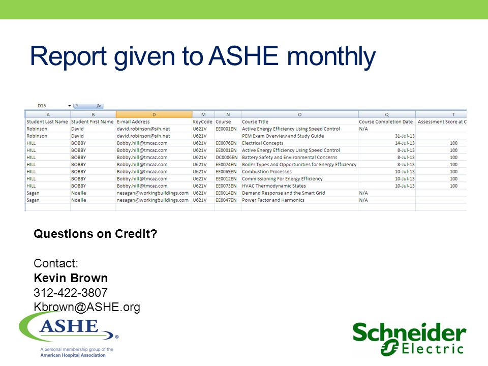 Report given to ASHE monthly Questions on Credit Contact: Kevin Brown 312-422-3807 Kbrown@ASHE.org