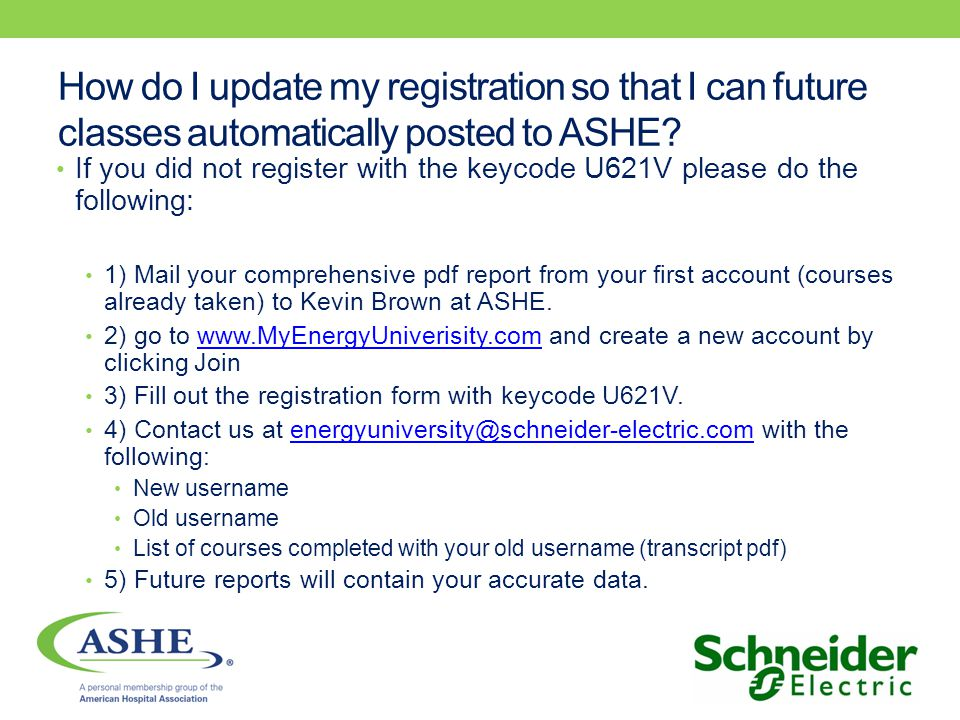 How do I update my registration so that I can future classes automatically posted to ASHE.