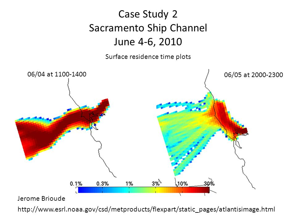 Case Study 2 Sacramento Ship Channel June 4-6, 2010 Surface residence time plots 06/05 at 2000-2300 06/04 at 1100-1400 http://www.esrl.noaa.gov/csd/me