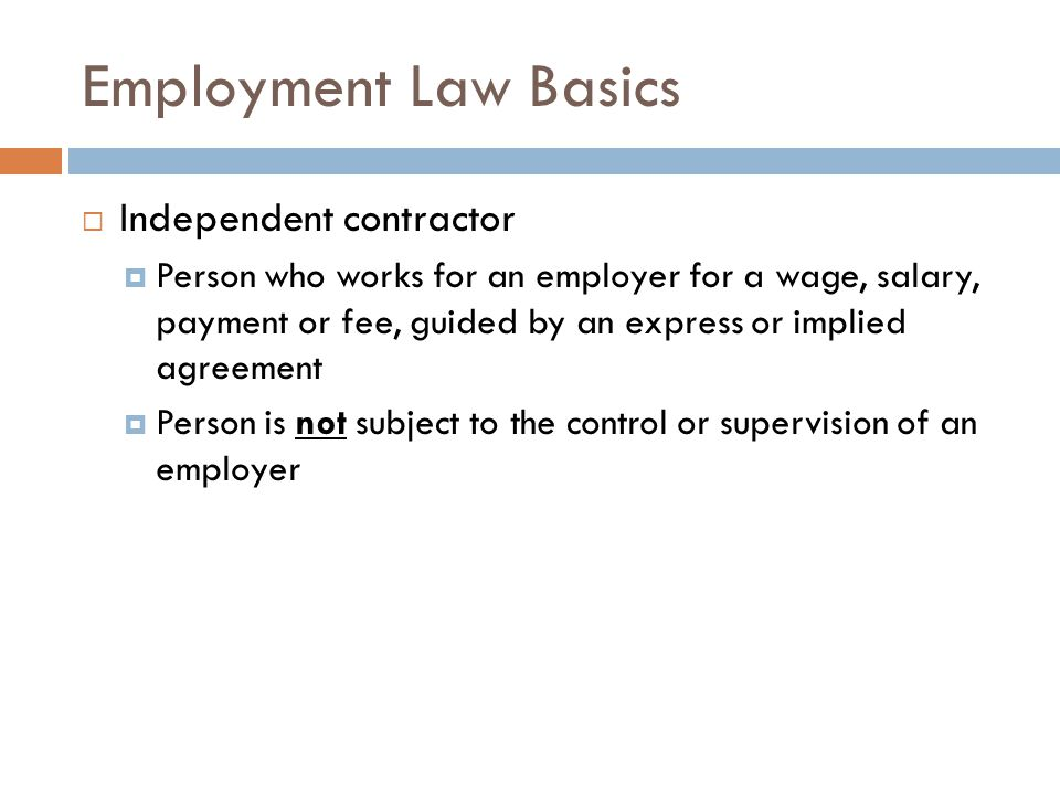 Employment Law Basics Express employment agreement A formal contract, either oral or written, that specifically states the terms and conditions of employment