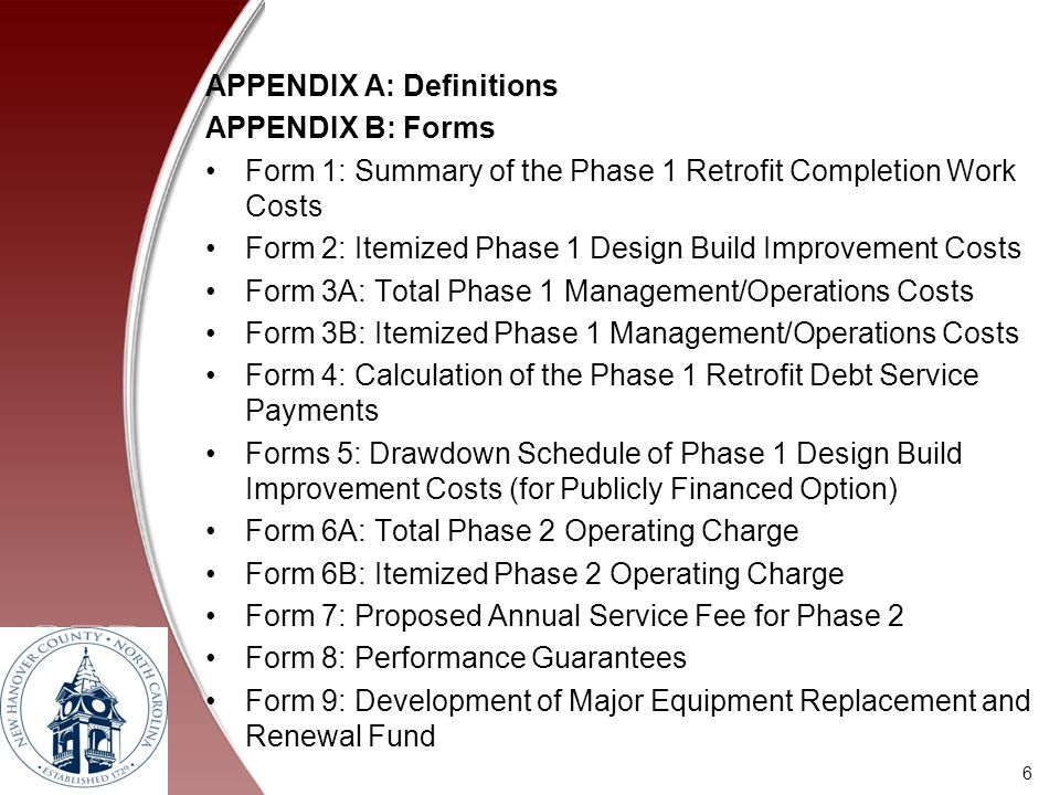 APPENDIX A: Definitions APPENDIX B: Forms Form 1: Summary of the Phase 1 Retrofit Completion Work Costs Form 2: Itemized Phase 1 Design Build Improvem