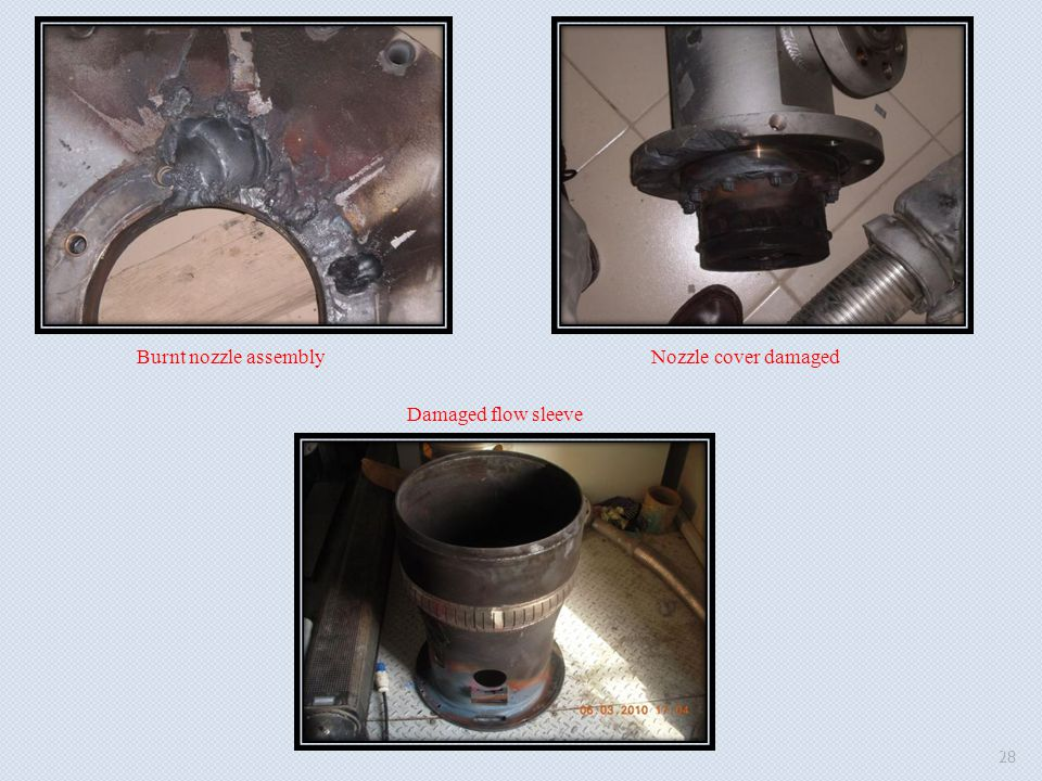 Burnt nozzle assemblyNozzle cover damaged Damaged flow sleeve 28