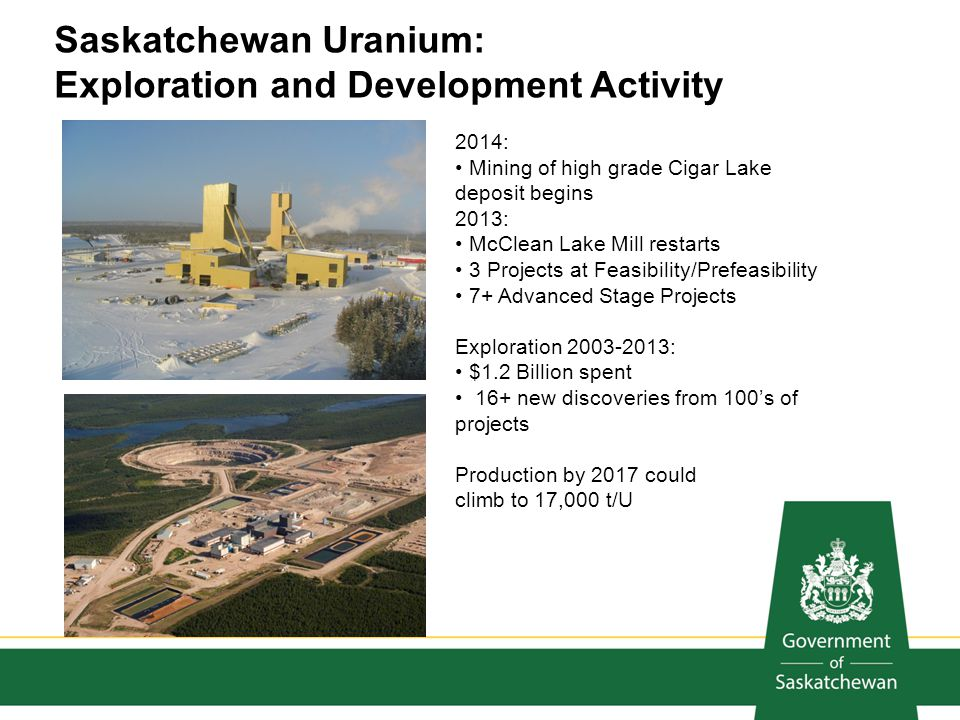 2014: Mining of high grade Cigar Lake deposit begins 2013: McClean Lake Mill restarts 3 Projects at Feasibility/Prefeasibility 7+ Advanced Stage Proje