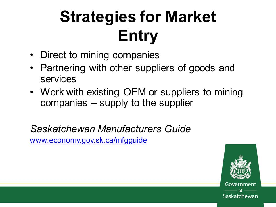 Strategies for Market Entry Direct to mining companies Partnering with other suppliers of goods and services Work with existing OEM or suppliers to mi