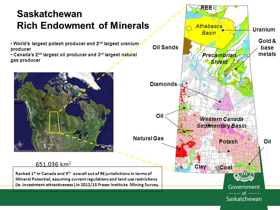 651,036 km 2 Uranium Gold & base metals Diamonds PotashOil Natural Gas Coal Clay Oil Sands Saskatchewan Rich Endowment of Minerals REE Precambrian Shi