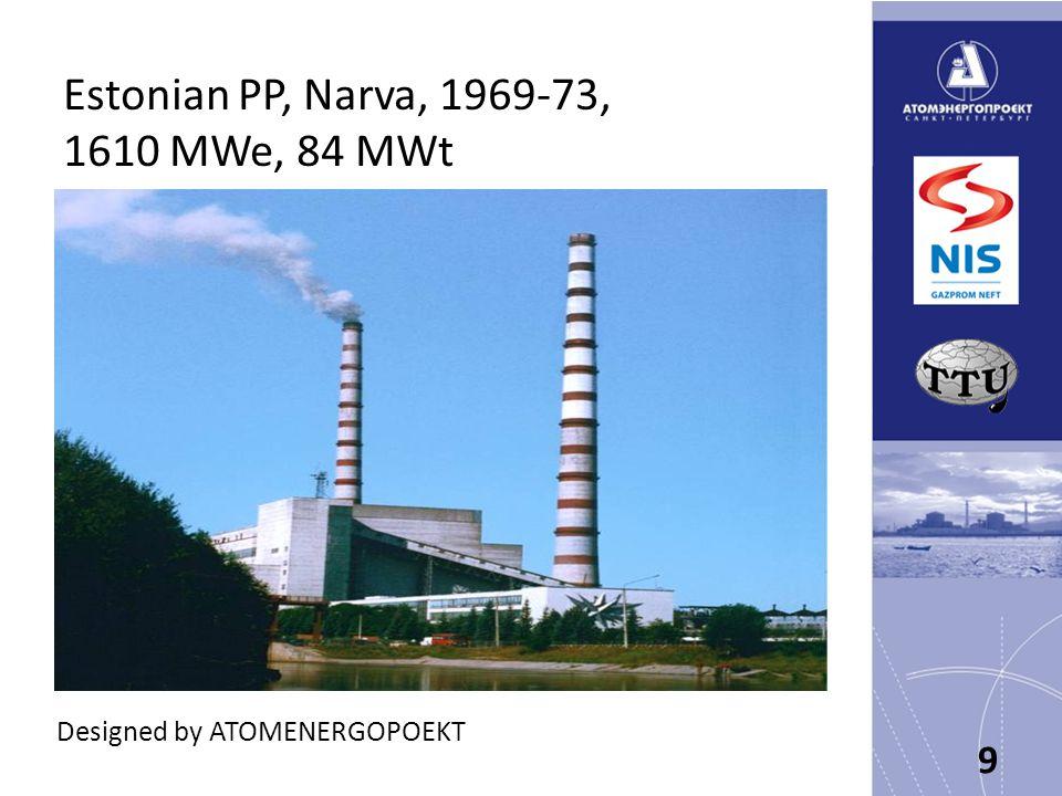 Estonian PP, Narva, 1969-73, 1610 MWe, 84 MWt 9 Designed by ATOMENERGOPOEKT