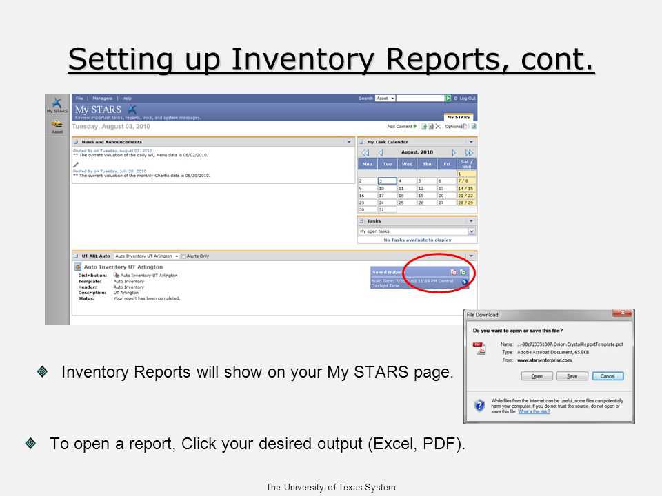 The University of Texas System Inventory Reports will show on your My STARS page.