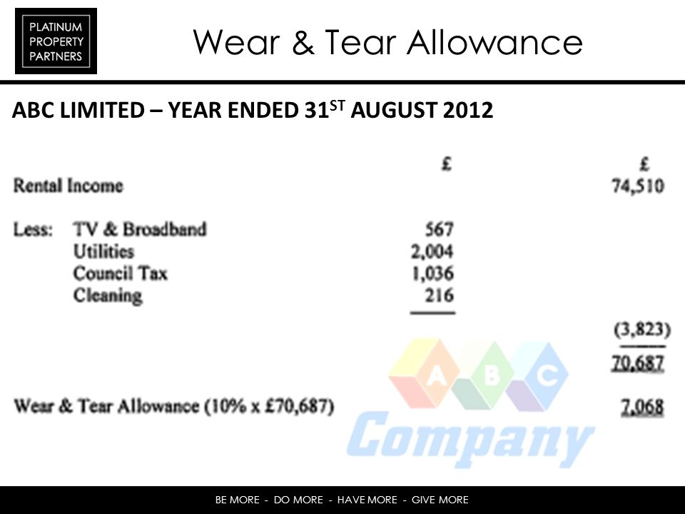 BE MORE - DO MORE - HAVE MORE - GIVE MORE Wear & Tear Allowance ABC LIMITED – YEAR ENDED 31 ST AUGUST 2012