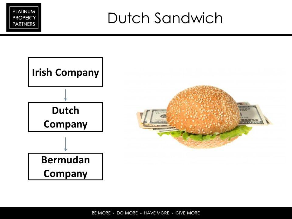 BE MORE - DO MORE - HAVE MORE - GIVE MORE Dutch Sandwich Irish Company Dutch Company Bermudan Company