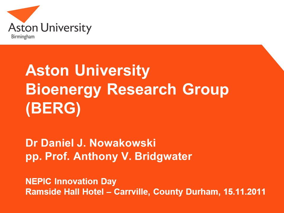 Bioenergy Research Group 2 Objective of BERG To apply chemical engineering science and technology to help provide sufficient energy, fuels and chemicals from renewable and sustainable resources for the needs of today and tomorrow.