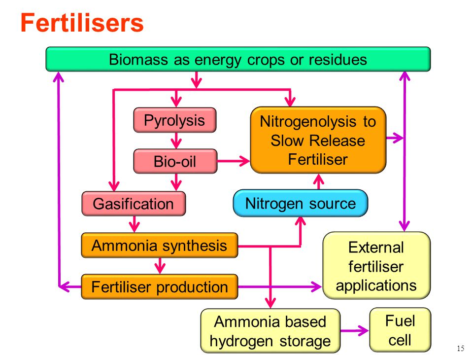 Bioenergy Research Group Fertilisers 15 Nitrogenolysis to Slow Release Fertiliser Pyrolysis Bio-oil Gasification Biomass as energy crops or residues A