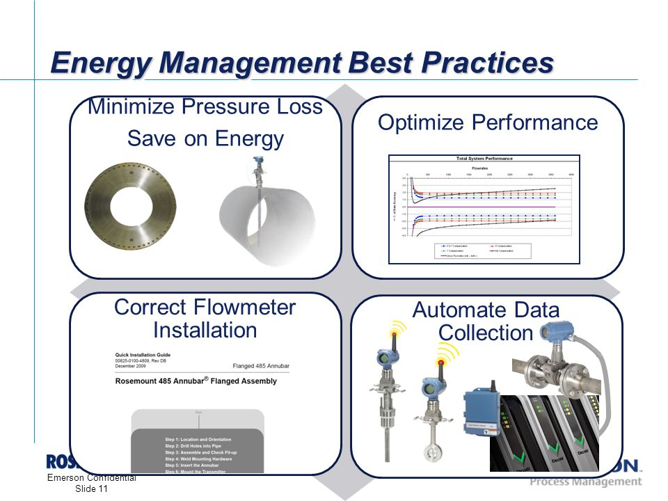 [File Name or Event] Emerson Confidential 27-Jun-01, Slide 11 Emerson Confidential Slide 11 Energy Management Best Practices Minimize Pressure Loss Save on Energy Optimize Performance Correct Flowmeter Installation Automate Data Collection Line Size: 60 Weight: 300 lbs Cost: $68,000 VS.