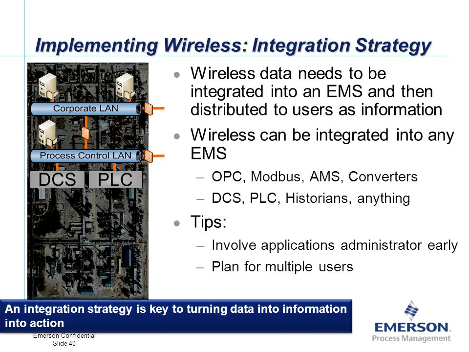 [File Name or Event] Emerson Confidential 27-Jun-01, Slide 40 Emerson Confidential Slide 40 Implementing Wireless: Integration Strategy An integration strategy is key to turning data into information into action Wireless data needs to be integrated into an EMS and then distributed to users as information Wireless can be integrated into any EMS –OPC, Modbus, AMS, Converters –DCS, PLC, Historians, anything Tips: –Involve applications administrator early –Plan for multiple users DCS PLC