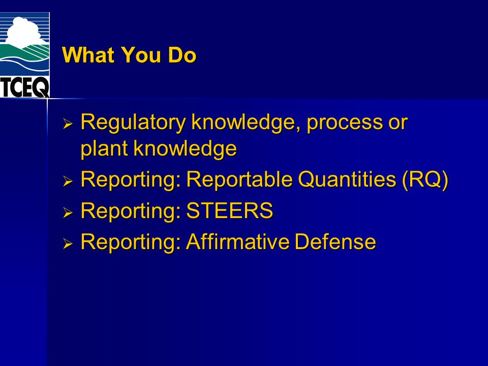 What You Do Regulatory knowledge, process or plant knowledge Regulatory knowledge, process or plant knowledge Reporting: Reportable Quantities (RQ) Reporting: Reportable Quantities (RQ) Reporting: STEERS Reporting: STEERS Reporting: Affirmative Defense Reporting: Affirmative Defense