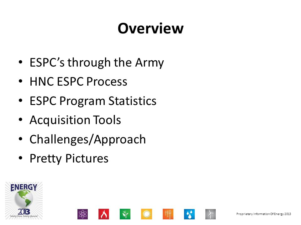 Overview ESPCs through the Army HNC ESPC Process ESPC Program Statistics Acquisition Tools Challenges/Approach Pretty Pictures