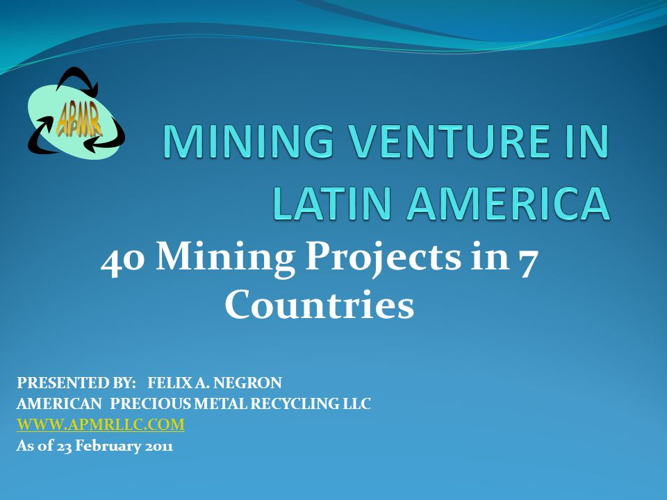 GENERAL INFORMATION 5 MILLIONS US PER MINING SITE 80% EQUIPMENT AND 20% Administration.